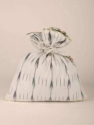 White Handcrafted Cotton Ikat Potli