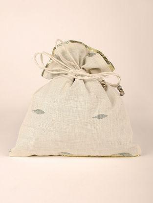White Handcrafted Cotton Jamdani Potli