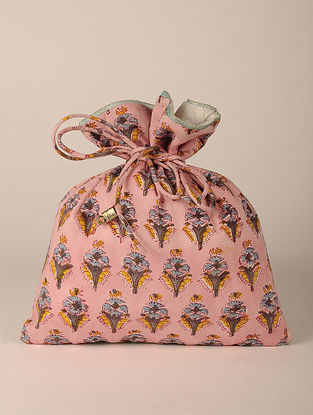 Pink Handcrafted Block Print Potli