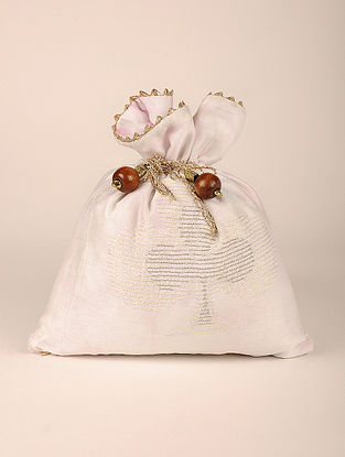 White Handcrafted Embroidered Chanderi Potli