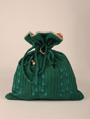 Green Handcrafted Cotton Pintuck Potli