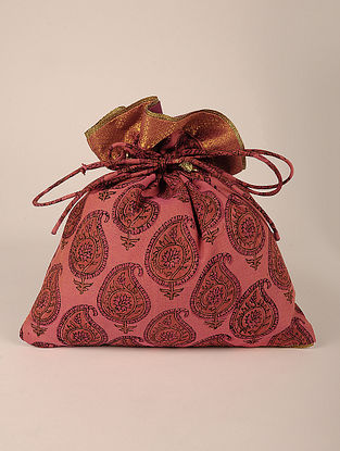 Peach Handcrafted Block Print Potli