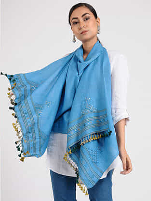Blue Wool Stole with Tassels