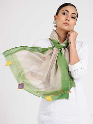 Beige-Green Hand-embroidered Wool Stole