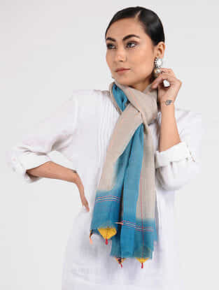 Beige-Blue Hand-embroidered Wool Stole