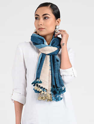 Blue-Beige Ghicha Silk Stole with Tassels