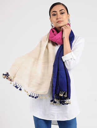 Ivory-Blue Ghicha Silk Stole with Tassels