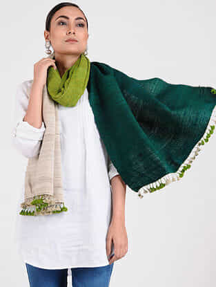 Ivory-Green Ghicha Silk Stole with Tassels