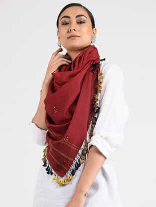 Red Wool Blend Stole with Tassels and Mirror-work