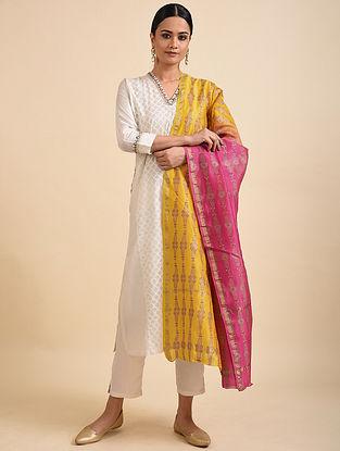 Yellow-Pink Block Printed Chanderi Dupatta with Zari Border