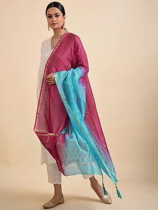 Turquoise-Pink Block Printed Chanderi Dupatta with Zari Border