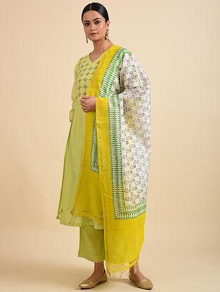 Ivory-Yellow Block Printed Chanderi Dupatta with Zari Border