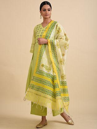 Green-Yellow Block Printed Chanderi Dupatta with Zari Border