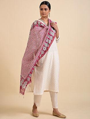 Pink-Ivory Block Printed Chandari Dupatta with Zari Border