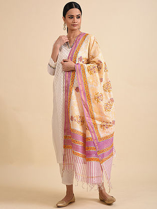 Ivory-Purple Block Printed Chandari Dupatta with Zari