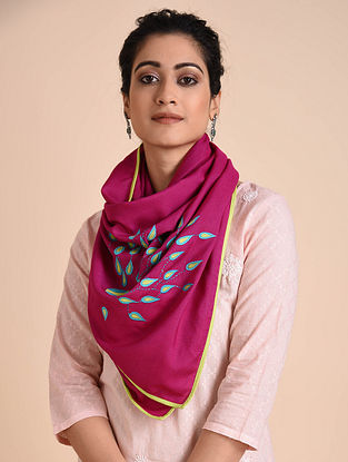 Pink Kantha Embroidered Cotton Stole with Patch Work