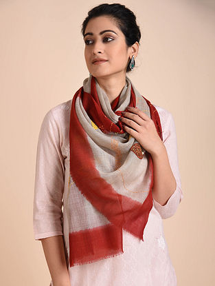 Grey-Red Kantha Embroidered Wool Stole with Patch Work
