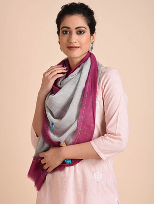 Grey-Pink Kantha Embroidered Wool Stole with Patch Work