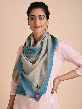 Grey-Blue Kantha Embroidered Wool Stole with Patch Work