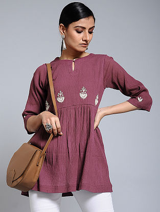 Wine Hand-embroidered Crinkled Cotton Tunic
