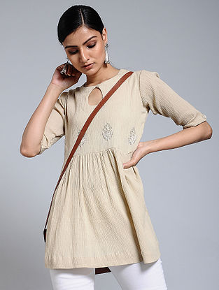 Beige Hand-embroidered Crinkled Cotton Tunic