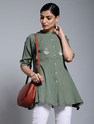Olive Hand-embroidered Crinkled Cotton Tunic