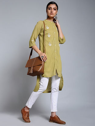 Mustard Hand-embroidered Crinkled Cotton Tunic