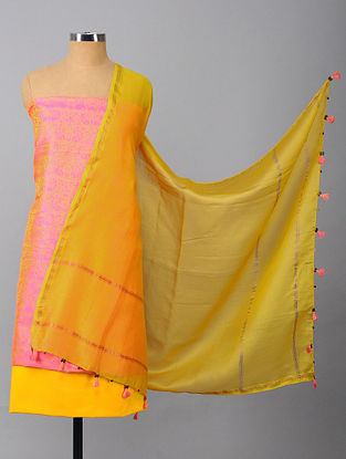 Pink-Yellow Tanchoi Silk Suit Fabric (Set of 3)