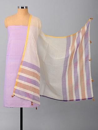 Purple Silk Suit Fabric with Kota Cotton Dupatta (Set of 2)