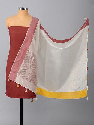 Maroon-Ivory Tussar Silk Suit Fabric with Maheshwari Dupatta (Set of 2)