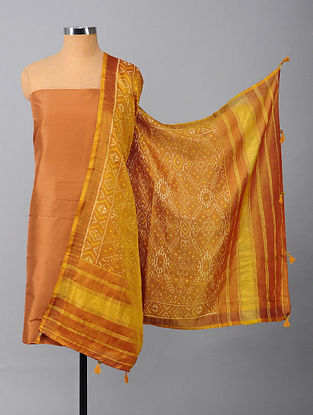 Brown Silk Suit Fabric with Ikat Dupatta (Set of 2)