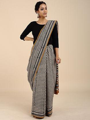 Black-Ivory Block-printed Mangalgari Cotton Saree