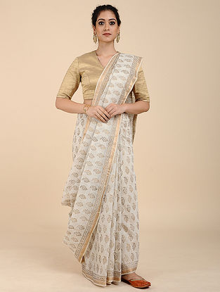 White Khari-printed Maheshwari Saree with Zari Border