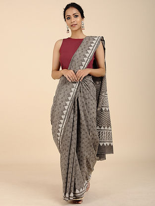 Grey-Ivory Block-printed Mul Cotton Saree