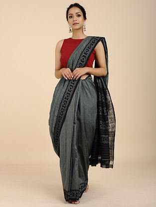 Grey-Black Ikat Cotton Saree