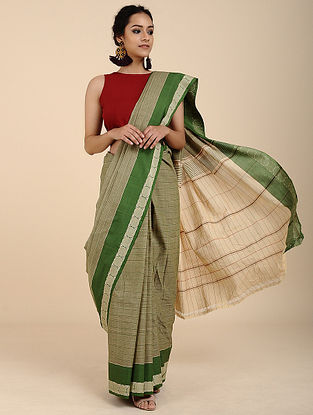 Green Cotton Saree with Woven Border