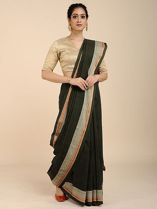 Green Cotton Saree with Zari Border