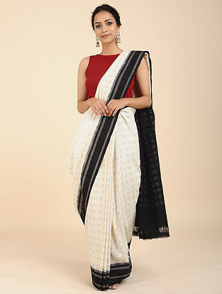 Ivory-Black Cotton Saree