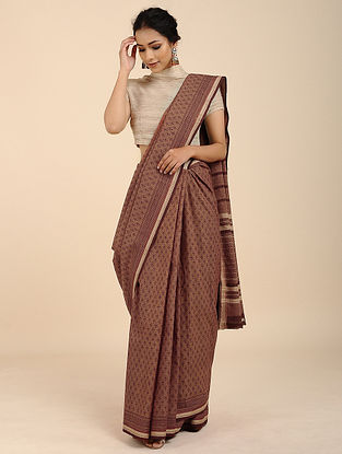 Brown Block-printed Mangalgari Cotton Saree with Woven Border