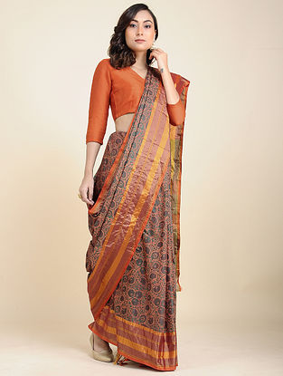 Orange-Brown Benarasi Silk Saree