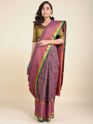 Pink-Purple Benarasi Silk Saree