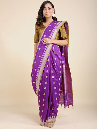 Purple-Ivory Benarasi Silk Saree