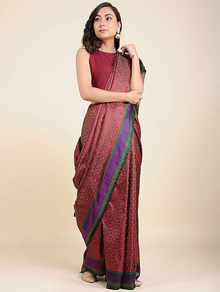 Maroon-Purple Tanchoi Silk Saree