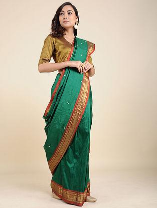 Green-Brown Silk Saree