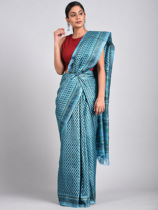 Blue Block Printed Tussar Silk Saree