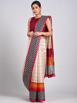 Ivory-Black Block Printed Tussar Silk Saree