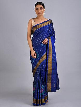 Blue Ikat Silk Saree with Zari