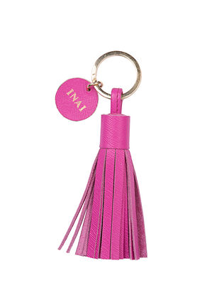 Hot Pink Handcrafted Leather Tassel Keychain