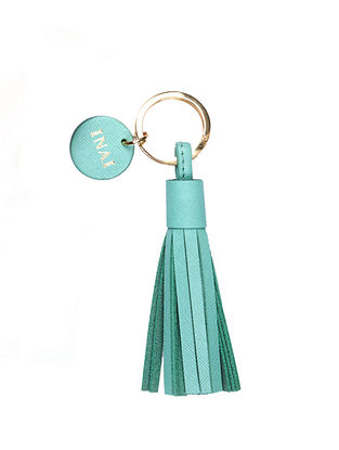 Ocean Green Handcrafted Leather Tassel Keychain
