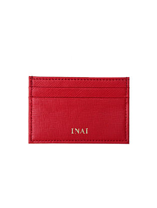 Red Handcrafted Leather Card Case